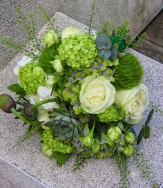 "this beautiful green bouquet included ""Blanchette"" Roses, Viburnum Opulus, Hydrangeas, Poppies, Peppermint, Thistles, Eucalyptus, Wheat, Thalaspi, Dianthus, Roses and lusicious Alpines."