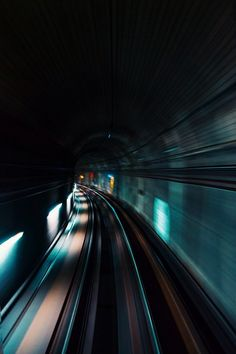 Speed tunnel #metro #subway #rails #railway #train #move #motion #speed #fast #blurry #blue #station #light #tunnel #photography