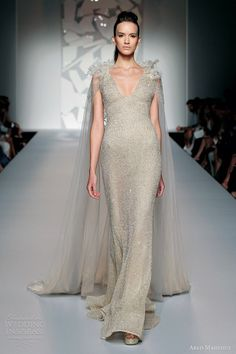 Abed Mahfouz fall 2012 couture: Wedding dress-Sheath gown v neck cape train