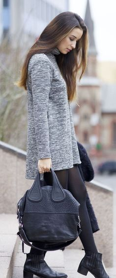 Ingrid Holm is wearing a grey sweater dress from Lindex, bag from Givenchy and the shoes are from Bianco by Camilla Pihl... | Style Inspiration
