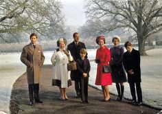 Family photo at Christmas: Charles, the Queen Mum, Prince Philip, Edward, the Queen, Anne, and Andrew.