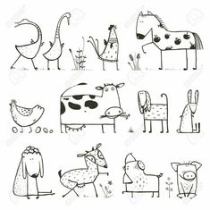 Funny Cartoon Farm Domestic Animals Collection for. - - Funny Cartoon Farm Domestic Animals Collection for… – - Doodle Drawings, Easy Drawings, Doodle Art, Simple Animal Drawings, Funny Drawings, Animal Line Drawings, Coloring For Kids, Coloring Books, Coloring Pages