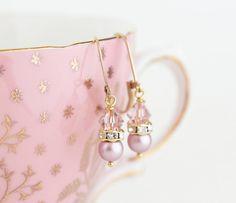 Pink Crystal Earrings Gold Filled Wedding by JacarandaDesigns