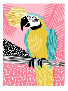 Holy Moly - memphis throwback retro neon bird macaw tropical island pop art bird watching 1980s Art Print