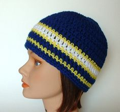 San Diego Chargers Team Colors Striped Skater Beanie for Men Women Teens. $12.00, via Etsy.