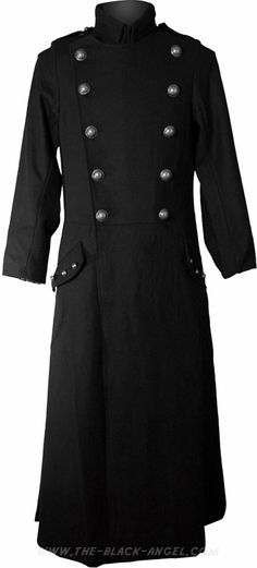 Black gothic uniform coat from the military clothing collection by Hard Leather Stuff.