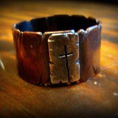 Copper Band Ring w/ Sterling Silver Cutout Cross by PaintinByFaith