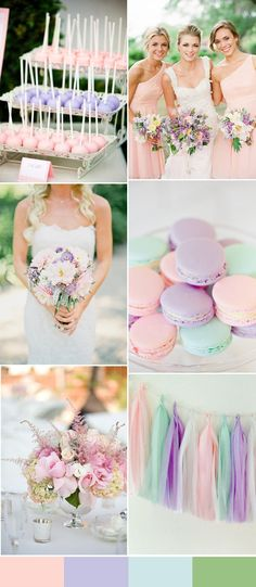gorgeous pink, green and light purple wedding color trends for 2016 spring