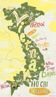 Travel illustrations by Migy vietnam map