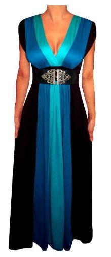 #FUNFASH WOMENS PLUS SIZE SLIMMING BLACK COLOR BLOCK LONG #MAXI PLUS SIZE #DRESS $59.99