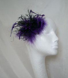 Cadbury Purple & Black Veil Fluff Feather Gothic Burlesque Hair Clip Fascinator