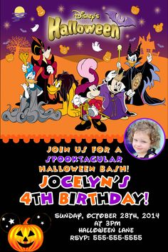 Mickey And Pals Birthday Halloween Invitations 899 Party Minnie Mouse