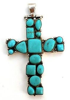 Sterling Silver Turquoise Cross Pendant Vintage