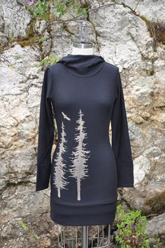 Long Hoodie Dress With Sitka Trees And Soaring Eagle Print // Black Bamboo Fleece