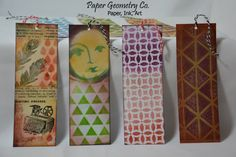 """A set of seven handmade paper bookmarks featuring bright colors and fun patterns. These patterned bookmarks are one-sided and are on a very thin card-stock in either white or Kraft brown. Each bookmark is topped with a string.   >> Quantity: Seven (7)  >> Style: one-sided; assorted colors and patterns; all seven are pictured.  >> Size: 2"""" x 6""""  >> Materials: thin card-stock, twine, ink  >> Packaging: plastic sleeve fixed on a cardboard insert to prevent folding  ..."""