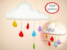 PDF PATTERN: Cloud Mobile with raindrops - DIY - Felt room decor sewing Pattern - Personalized wall hanging tutorial - White Rainbow