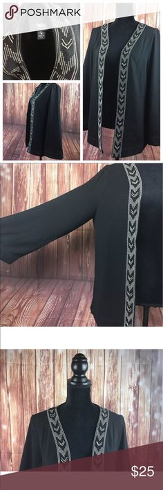 "Black Mossimo open Cardigan Embroidered  size L Women's Black Mossimo Light Fly-away Open Cardigan Top Embroidered with beaded silver Detail L New Bohemian laggen Look layering   Open front  Sleeves 18""  Length 22""   BA12 B43 Mossimo Supply Co Tops Blouses"