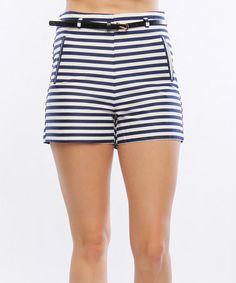 Another great find on #zulily! Navy & White Stripe High-Waist Shorts #zulilyfinds