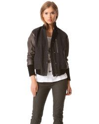 I have a jacket really similar to this that I love  Tess giberson Bomber Jacket with Leather Sleeves in Gray (Grey) | Lyst