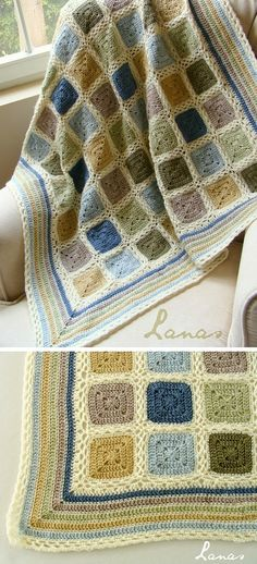 Inspiration :: Beautiful baby blanket in soft alpaca earthtones of country blue, light blue, beige, wheat yellow, olive green, & pale green.  All joined with color cream. Square motifs worked with a 4mm hook are framed with 1 row of SC's in cream, then joined with lacy chain arches. Border is DC stripes in all colors, alternated with SC rows in cream. #crochet #afghan #throw