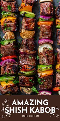 Shish Kabobs Marinade, Beef Shish Kabob, Beef Kabob Recipes, Beef Marinade, Steak Kabobs, Yummy Recipes, Cooking Recipes, Grilled Veggie Kabobs, Grilled Food