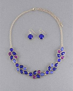 Royal Blue Magenta  Necklace Bib Necklace Leaf by SophiaJewels, $21.00