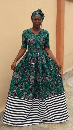 Ola african maxi dress with headwrap ,ankara maxi dress,afric Ankara Maxi Dress, African Maxi Dresses, African Dresses For Women, African Attire, African Fashion Designers, Latest African Fashion Dresses, African Print Fashion, Ankara Fashion, African Traditional Dresses