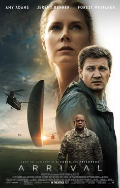 "Arrival is a 2016 American science fiction film directed by Denis Villeneuve and adapted by Eric Heisserer, based on the 1998 short story, ""Story of Your Life"" by Ted Chiang. It stars Amy Adams, Jeremy Renner, and Forest Whitaker Film Science Fiction, Fiction Movies, Sci Fi Movies, Hd Movies, Movies Online, Watch Movies, 2016 Movies, Cinema Movies, Jeremy Renner"
