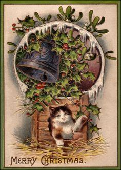 Cartes postales de Noel ancienne : Chaton