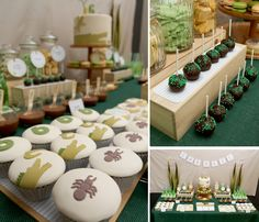 """Boy's birthday featuring """"creepy, crawly"""" cupcakes, cookies, cake pops on a stick!"""