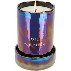 Tom Dixon Oil Candle Glass Large (18265 RSD) ❤ liked on Polyvore featuring home, home decor, candles & candleholders, candles, fillers, blue, items, metallic candles, heart shaped container and fragrance candles