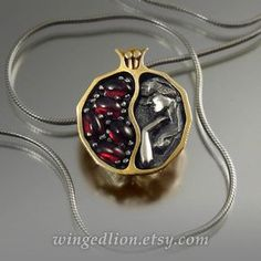 Small POMEGRANATE garnet bronze and silver pendant by WingedLion
