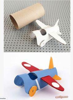 Activités Enfants Rouleau Carton Papier Toilette Avion