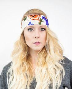 Rose Floral Wide Headband Boho Head Band Womens by ForgottenCotton