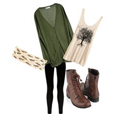 Combat Boots Outfit•Green Cardigan•Tree Shirt