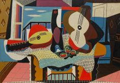 Mandolin and Guitar by Pablo Picasso, Guggenheim Museum Size: cm Medium: Oil with sand on canvas Solomon R. Guggenheim Museum, New York © 2016 Estate of Pablo Picasso/Artists Rights Society (ARS), New. Art Picasso, Picasso Paintings, Picasso Collage, Collage Art, Picasso Portraits, Art Paintings, Collages, Guernica, Henri Matisse