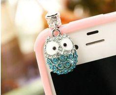 Save $12.01 on Smile Decor, Owl, Crystal Pendant, Earphone Jack Accessory, Dust Plug, Ear Hole Cap, Ear Jack For Samsung, iPhone...; only $12.99 + Free Shipping