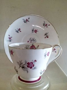 English Porcelain - Charming 'Charm' porcelain tea trio by Shelley. Pretty pink flocked flower pattern. for sale in Durban (ID:234036338)