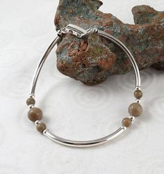 Petoskey stone and sterling silver bracelet B2732