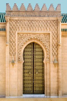 Doorway in the Alawite dynasty's funerary complex in the Tour Hassan, Rabat - Morocco