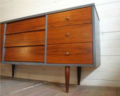 mid century painted furniture- I think I'll do this with a muted teal