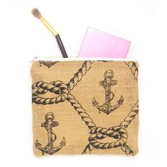 New to the shop - Burlap Pouch with Rope and Anchor Pattern. Adorable!!  #burlap #anchor #nautical #beach #pouch #accessories #makeup #maker #makersgonnamake #makersmovement #onlineshop #bag #boating #etsy #etsyshop #etsyseller #et