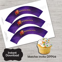 Descendants Cupcake Wrapper,Descendants,Cupcake Wrapper,JPG file,Cupcake Wrappers,Descendants wrapper,Mal,Evie,Jay,Carlos,Villains,DPP04