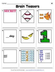 Sacramento escape room puzzles brain-teasers and riddles. Rebus Puzzles, Logic Puzzles, Word Puzzles, Puzzles For Kids, Picture Puzzles, Printable Brain Teasers, Brain Teasers Riddles, Brain Teasers For Kids, Brain Teaser Games