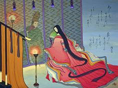 """Artist Agameishi.  The Tale of Genji, chapter 20,""""The Bluebell"""".  Agameishi took on the major challenge of illustrating every poem in the book."""