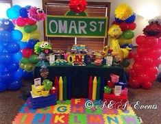 AandAevents_'s Birthday / Sesame Street - Sesame Street party at Catch My Party Elmo First Birthday, Boy Birthday Parties, Birthday Ideas, Sesame Street Party, Sesame Street Birthday, Sesame Street Centerpiece, Elmo And Friends, Elmo Party, Party Themes
