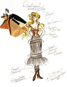 "Costume illustration for ""Trixie"" (Paula Malcomson) from 'Deadwood' 2004-2006 Design by Katherine Jane Bryant."
