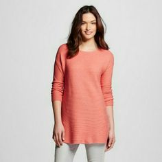 Merona 3/4 Sleeve Tunic Sweater Sweater features a round neck and long sleeves. Long length and ribbed fabric. Sweater has two small side slits (bottom edges) which add a little more comfort. Lightweight, great as a summer night top! Merona  Sweaters