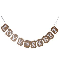 Love Is Sweet Bunting Garland Banner Wedding Party Decoration (Light Brown) W2S9