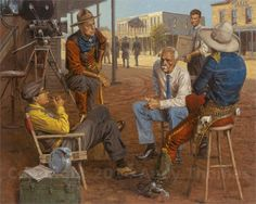 Wyatt Earp spent some time in Hollywood, This Thomas print shows Wyatt talking to director John Ford as well as Tom Mix and William S Hart Print is available in Canvas and Paper Giclee's Native American Art, American History, Old West Photos, Wyatt Earp, Cowboy Art, Le Far West, Paintings I Love, Western Art, Wild West